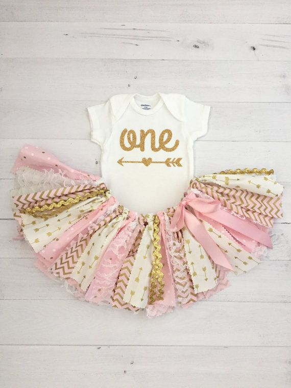 Pink and Gold Arrow Skirt First Birthday by MeadowsMarvels on Etsy