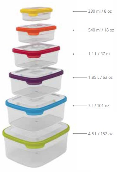 Perfect for neat freaks...the Joseph Joseph Nest™ Storage compact container sets- they stack together to keep your kitchen cupboards in order!