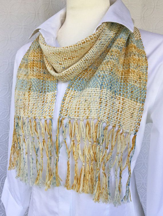 Yellow Hand Woven Scarf - Handmade Scarf - Cotton Scarf - Womens Scarf - Summer Scarf - Yellow Scarf - Christmas Gift - Gift for Her