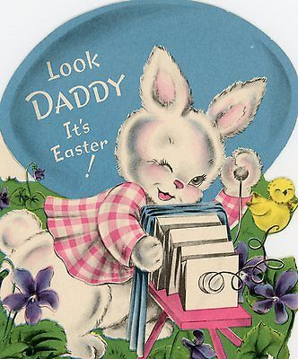 Vintage Norcross Easter Greeting Card Die Cut Rabbit taking Picture 577