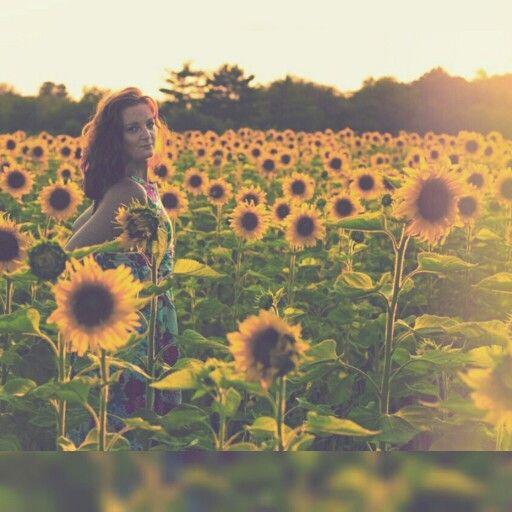 Redheaded sunflower girl