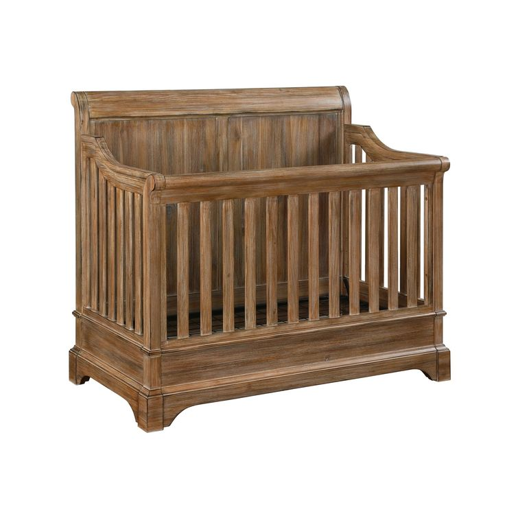 The Pembrooke 5-in-1 Convertible Crib is designed to meet all of your growing baby's needs. Transforming from a crib, to a toddler bed, to a full-size bed with a sleigh-style headboard and footboard! The natural rustic finish, solid wood construction, and detailed wood-cuts make it the perfect centerpiece for your nursery. The crib adjusts for 4 mattress height positions and accommodates a standard crib size mattress (sold separately).