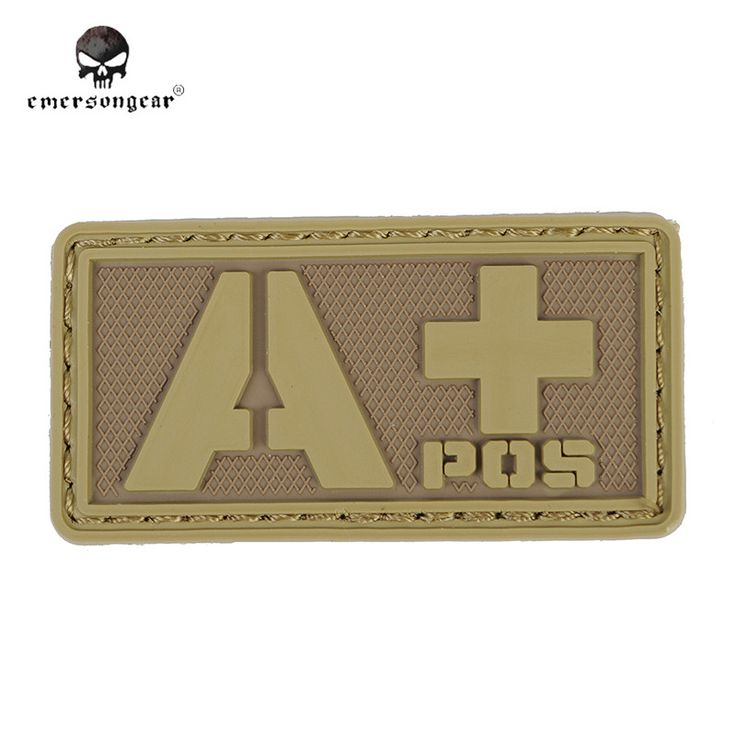 Emersongear Military Paramedic Patch Badge Rescue 3D Rubber Patch APOS Blood Type PVC Patch Paintball Helmet Bag Patches Brown#