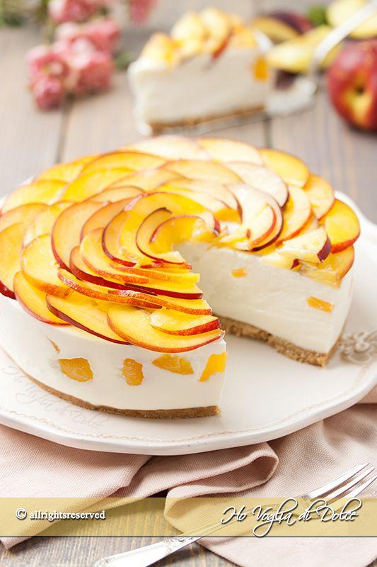 Cheesecake alle pesche senza cottura ricetta Ho Voglia di Dolce