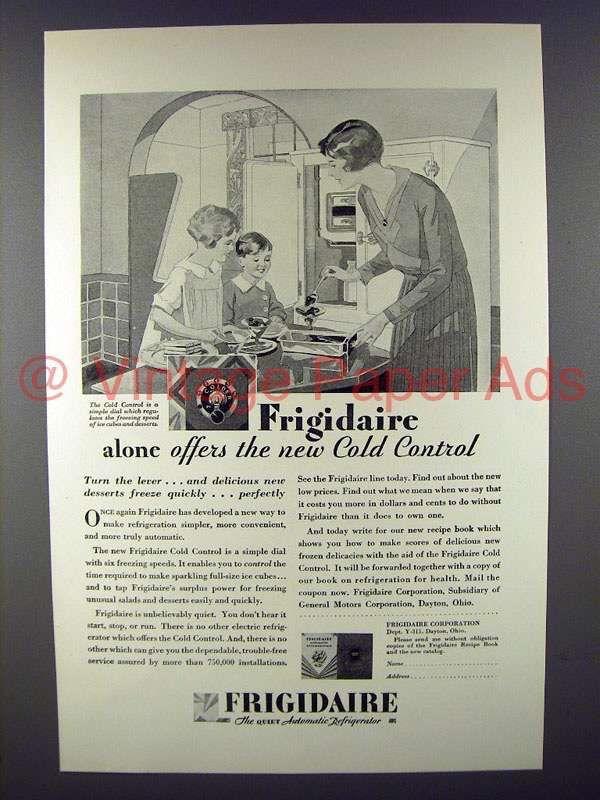 1929 Frigidaire Refrigerator Ad - Offers Cold Control