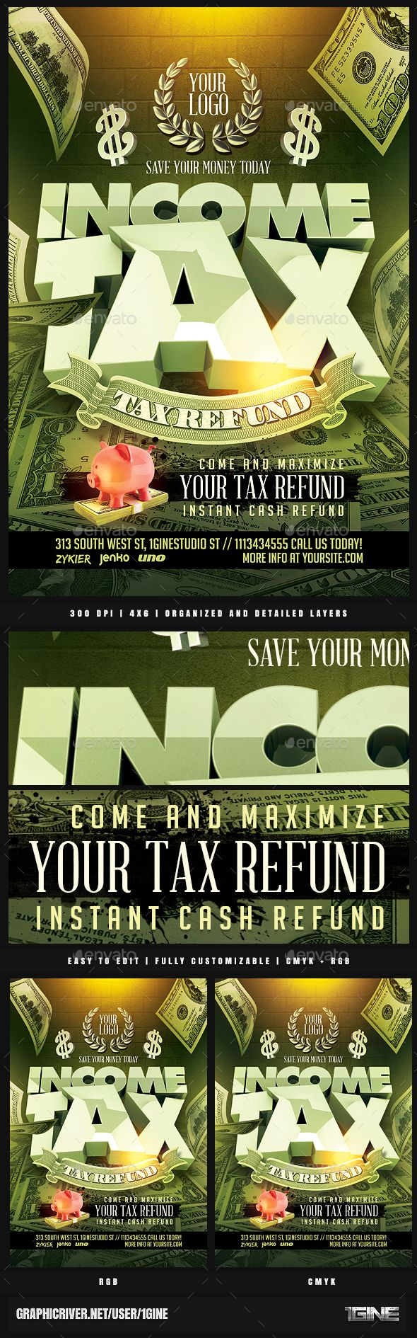 Income Tax #Flyer Template - Clubs & Parties #Events