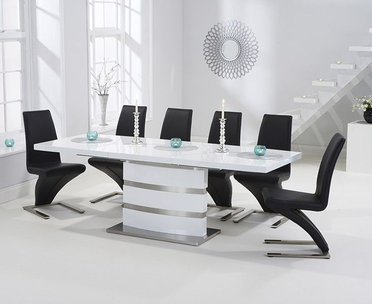 19++ Black gloss extending dining table and chairs Best