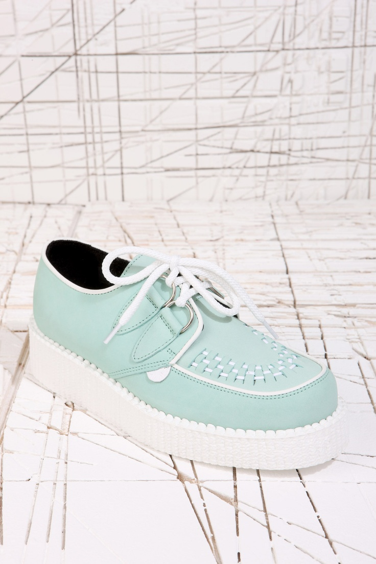 Underground Shoes Mint & White Creepers at Urban Outfitters