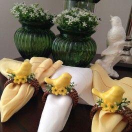 Porta Guardanapo Passarinho em Cerâmica  Amarelo