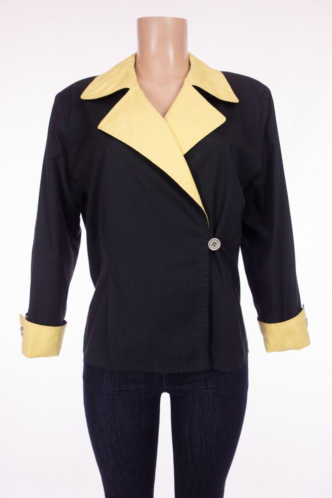 SALVATORE FERRAGAMO Jacket 44 M L Black Yellow Cotton Double Breasted Vintage #SalvatoreFerragamo #DoubleBreasted