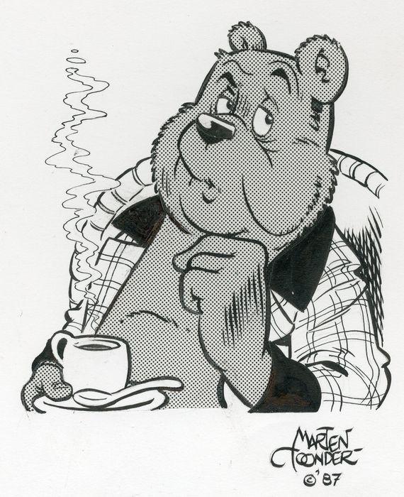 Toonder, Marten - originele tekening Heer Bommel - Heer Bommel overpeist zaken onder het genot van een heerlijke kop koffie - Concordia - (1987) - W.B.