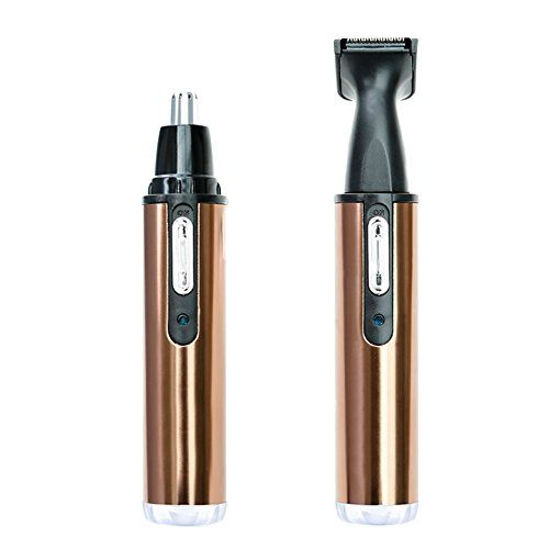 Nose Hair Trimmer PrettyQueen 2 In 1 Rechargable Waterproof Ear Nose Hair Trimmer Stainless Steel Blades Beard Clipper Wet/Dry for Men and Women, Golden