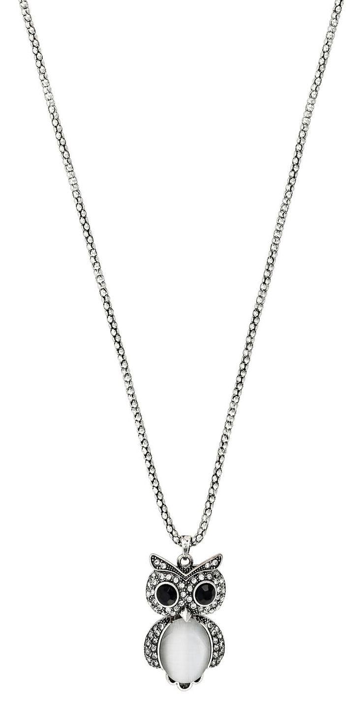 Colgante de búho, piedras de estrás    - Collar    - Color plateado antiguo, gris, negro    - Piedra cat eye        Largo:  80-87 cm      Largo de búho:  5 cm