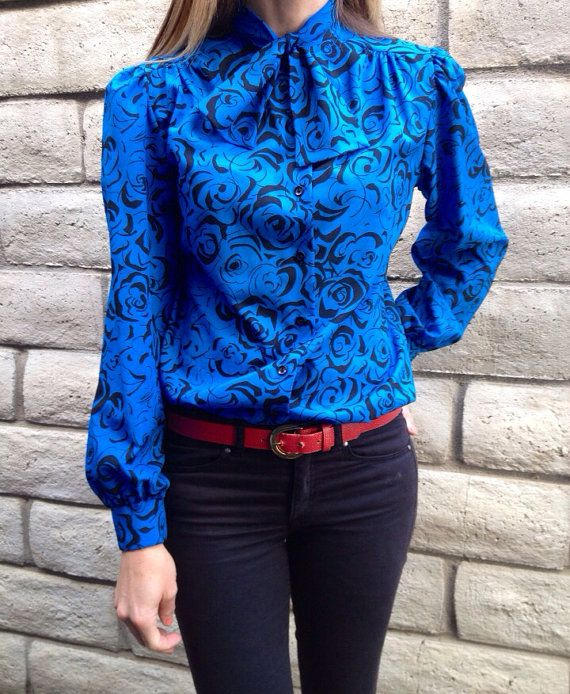 1970's Long Sleeves Jabot Blue & Black by shopvintageclectic, $16.00