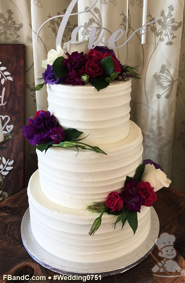 "Design W 0751 | Butter Cream Wedding Cake | 10""+8""+6"" 