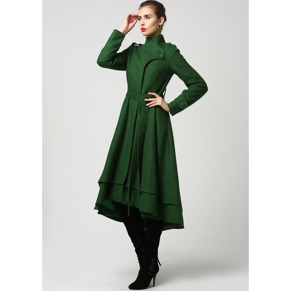 Womens Long Dark Green Wool Coat (1112) (275 CAD) ❤ liked on Polyvore featuring outerwear, coats, long military coat, military coat, tie belt, long woolen coats and long coat