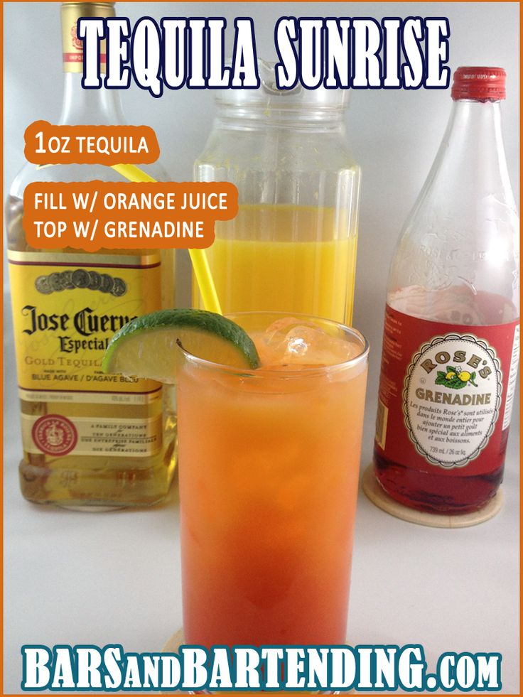 48 best drink recipes cocktails images on pinterest for Best tequila for tequila sunrise