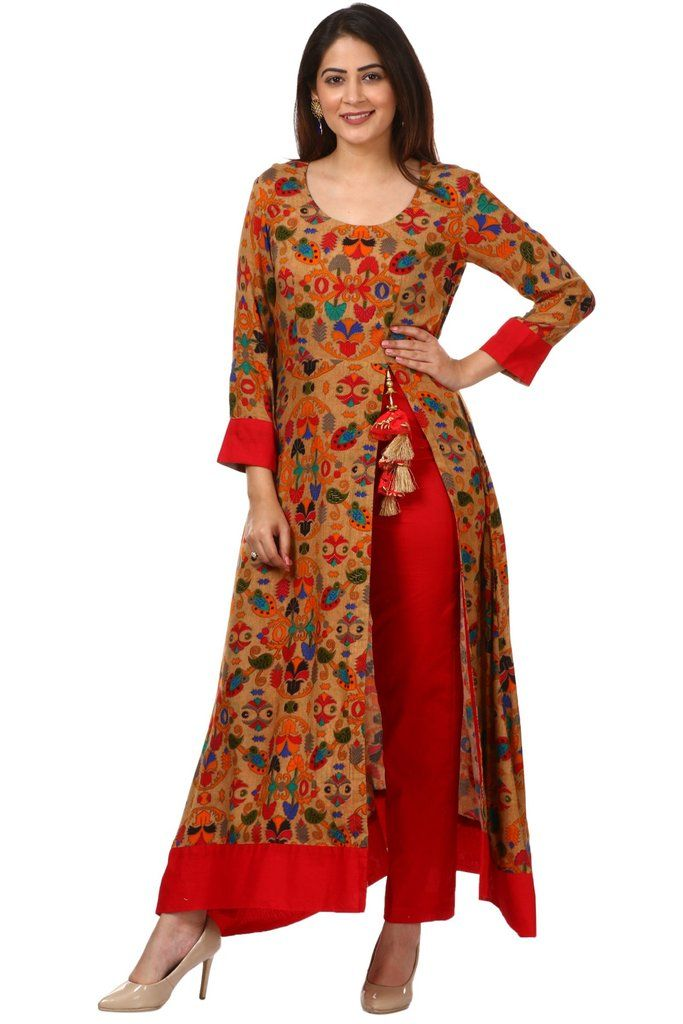 e1c32c87788713 Gold Floral Side Slit Printed Kurti with Straight Pants | Women's ...