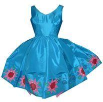 Blue handpaintet 50s tafetta  dress. Paintet by Loa Gitz - Dixie Grey
