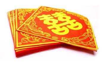 Chinese Wedding Decor / Chinese New Year Gifts / Chinese Paper Napkins - Double Happiness (Set of 20) by Artistic Chinese Creations.