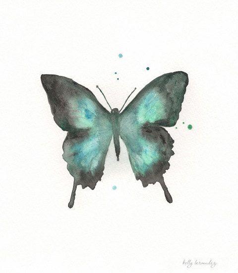 Butterfly/blue+green+teal+black++Watercolor+Print+by+kellybermudez,+$20.00