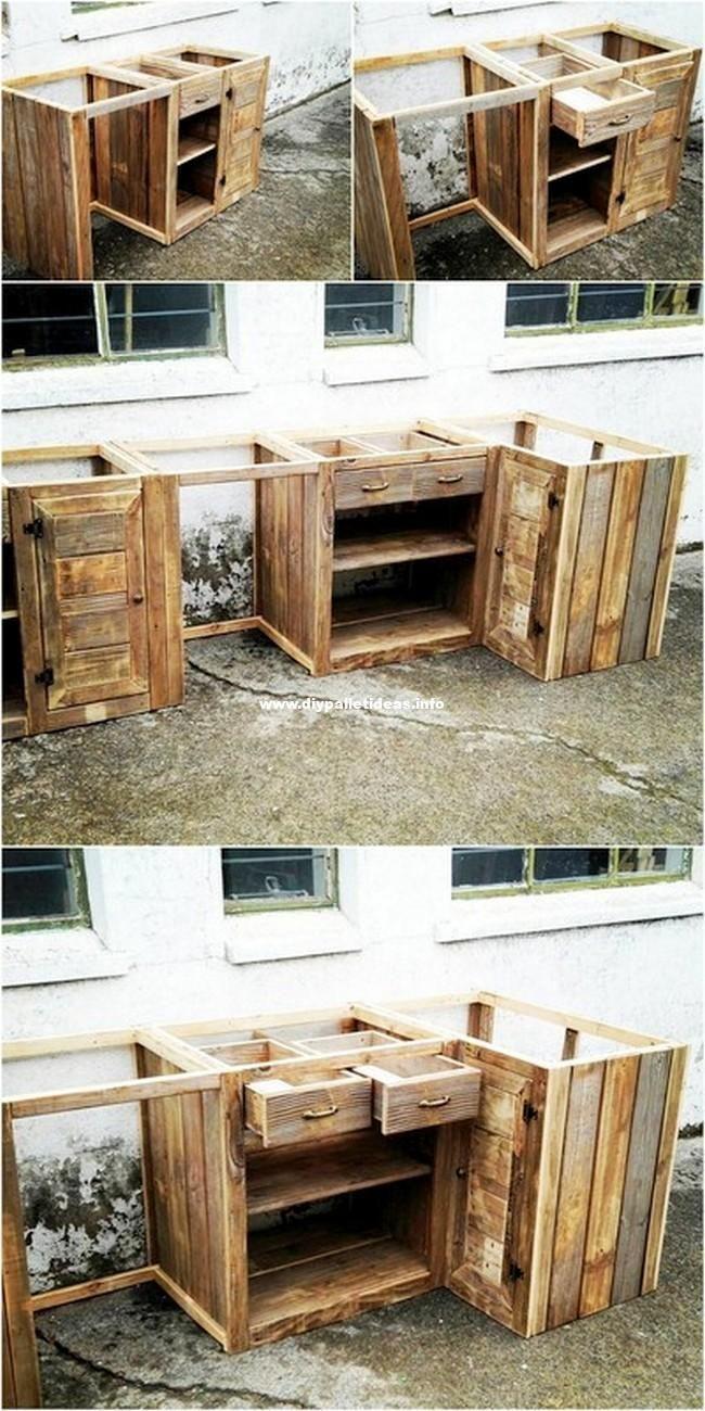 Pallet Kitchen Cabinets Pallet Decor Pallet Kitchen Wood Diy Wooden Pallet Table Woo In 2020 Pallet Kitchen Cabinets Wood Pallet Crafts Pallet Kitchen