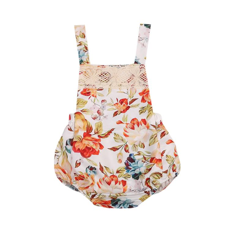 Fashion Newborn Infant Baby Girls Lace Floral Romper Backless Jumpsuit Outfits Sun-suit Clothes