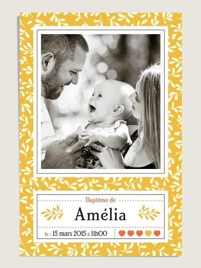 Faire-part de baptême au délicat motif végétal Popeline jaune soleil, pour petites filles ou petits garçons