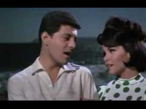 "Annette Funicello and Frankie Avalon in Beach Blanket Babylon, singing a  sweet romantic duet, ""Because You're You."""