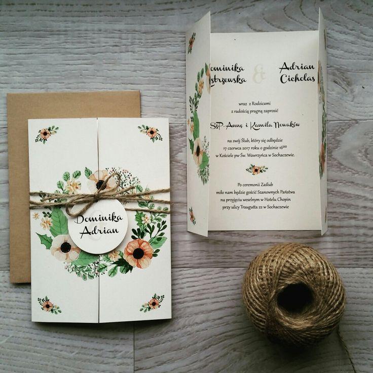 Rustykalne, ekologiczne zaproszenia ślubne, anemony