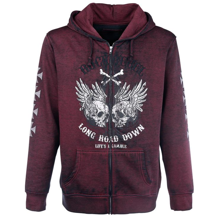 Sweat-shirt zippé à capuche Rock Rebel by EMP »Hooded Burnout Jacket« |