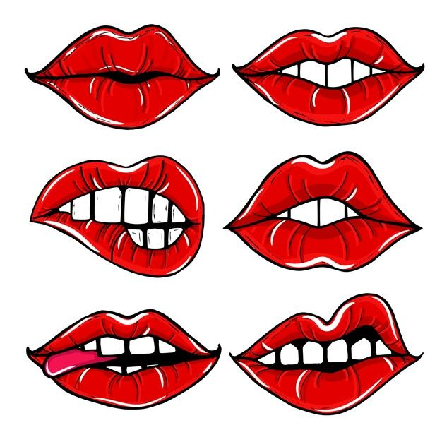 Open Female Mouth With Red Lips Women Lips Isolated Set Free