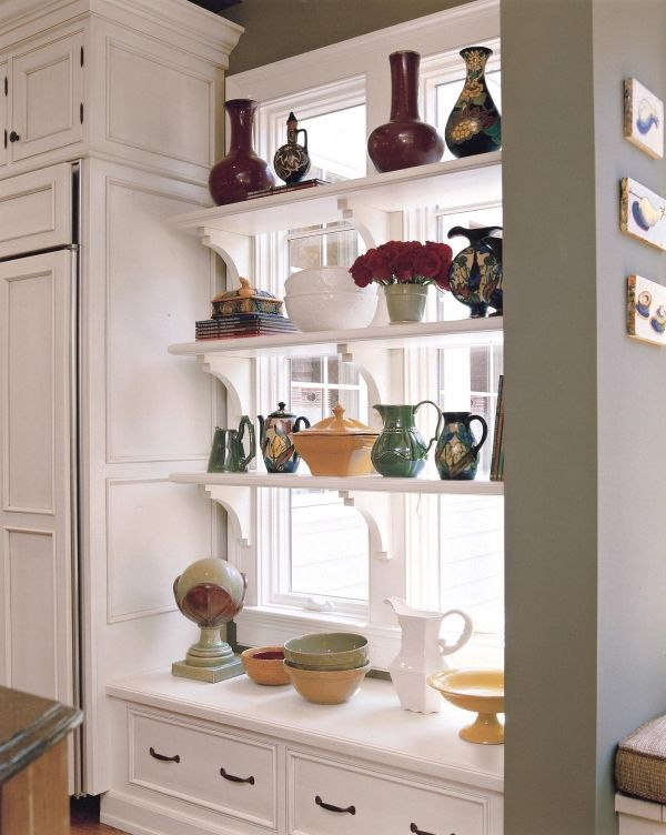 Kitchen window shelves & storage