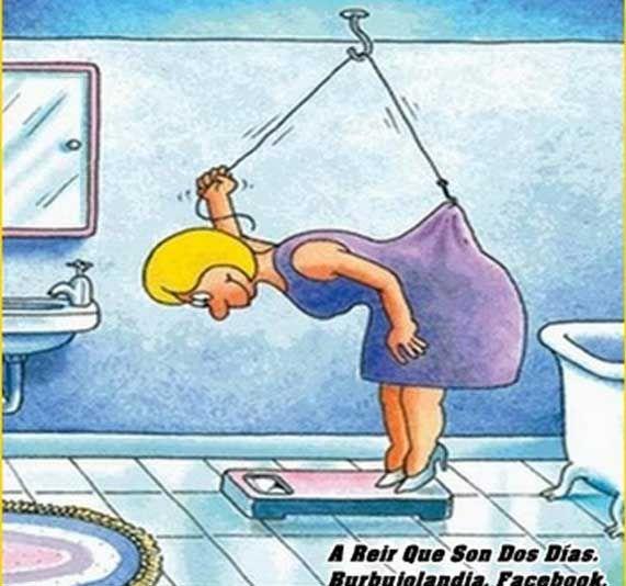 chiste grafico aligerando peso