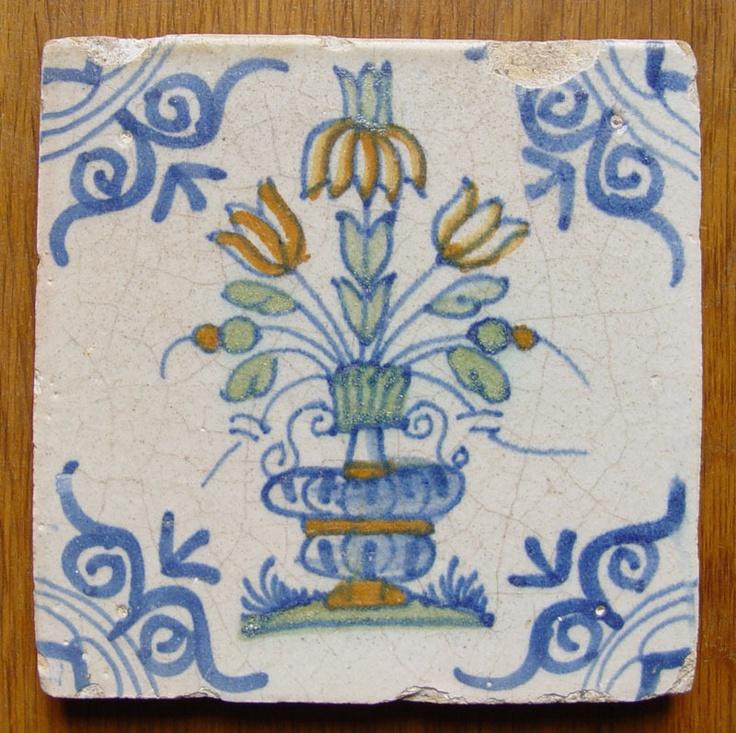 Dutch polychrome tile c1625