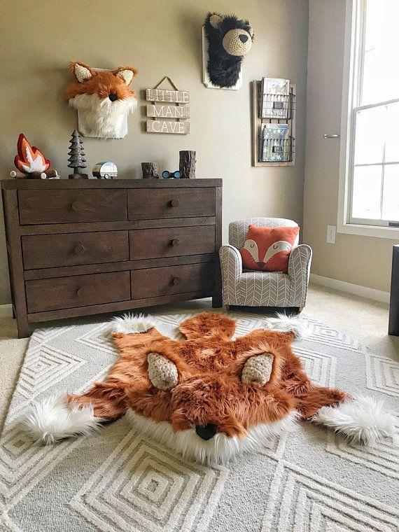 Fox Rug Faux Fox Rug Woodland Camping Nursery Fox Baby Room