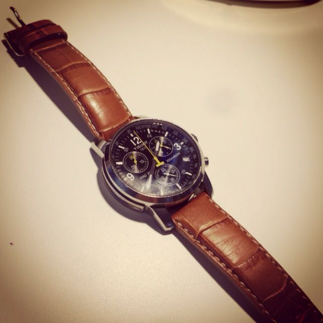 Tissot Watch Black Face With Brown Strap Combo
