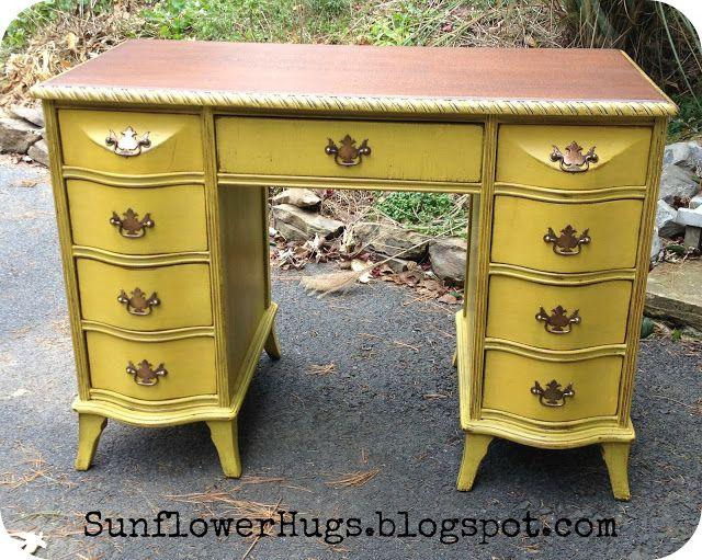 SunflowerHugs: Mustard Yellow #Desk #repurposed desk www.makingthemagichappen.com