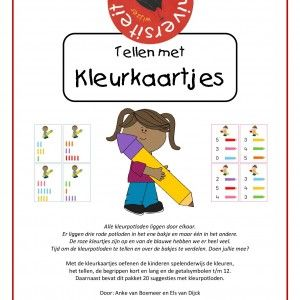 Met de kleurkaartjes oefenen de kinderen spelenderwijs de kleuren, het tellen, de begrippen kort en lang en de getalsymbolen t/m 12. Daarnaast bevat dit pakket 20 suggesties met kleurpotloden. Door juf Els en juf Anke