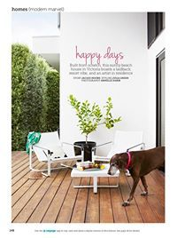 Happy days, a coastal Victorian home with a laidback resort vibe. Clipped from the Home Beautiful Magazine Australia December issue featuring our Neutra easy chairs, Forum Loungers and a very cute shorthaired pointer.  http://www.coshliving.com.au/