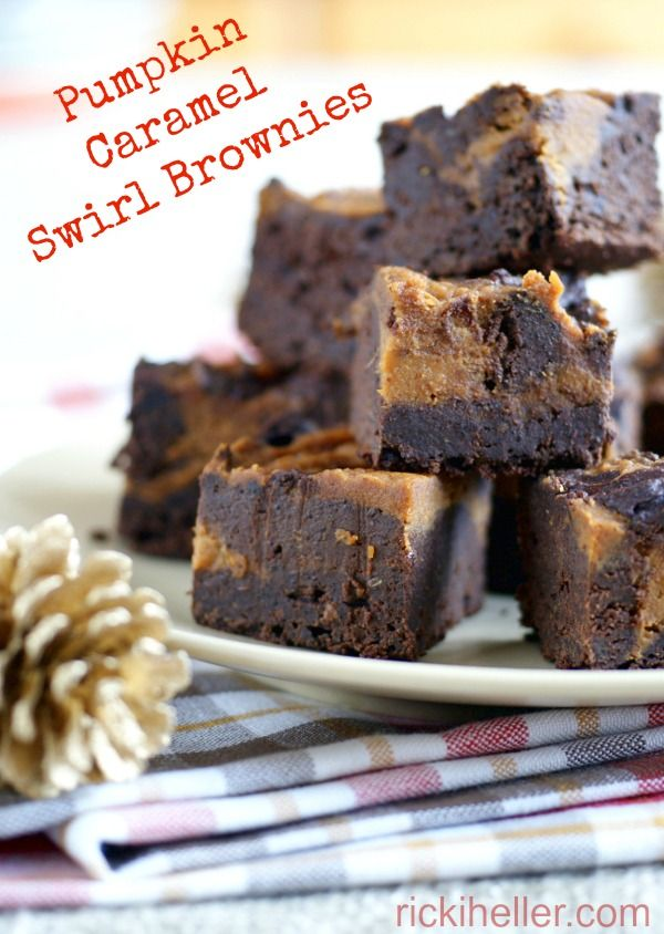 Pumpkin Caramel Swirl Brownies made with whole foods ingredients and no refined sugars--vegan and gluten-free, too!