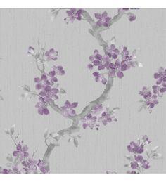 Papel pintado flores japonesas moradas en rama fondo gris - 40906