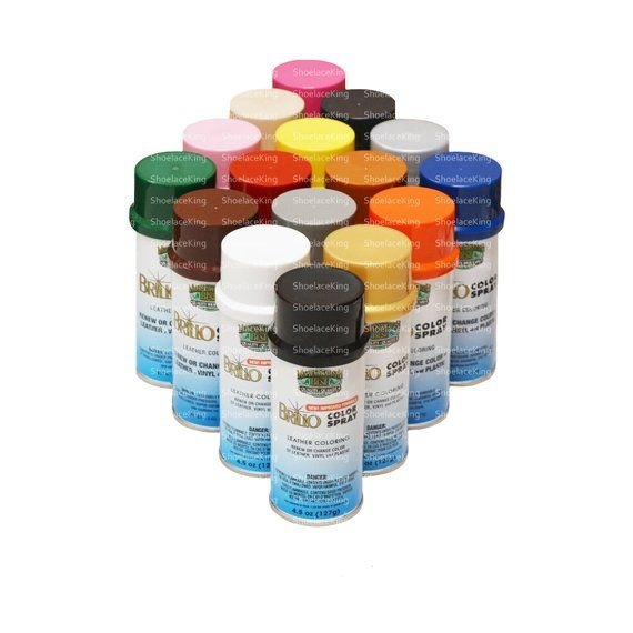 Leather Vinyl Color Spray Dye Paint Mb Brillo Permanent Color Repels Water Stains 4 50oz Bottle 50 Colors Color Spray Vinyl Colors Staining Wood