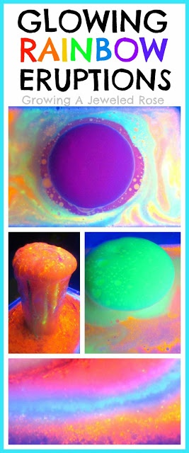 To make GLOWING Rainbow Eruptions you will need:      Vinegar   Baking soda   Fluorescent or glow in the dark paint   Dish soap (optional)