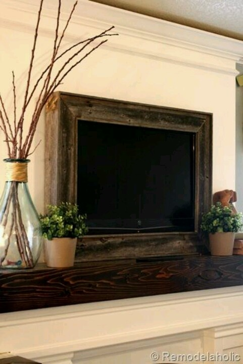 Rustic way to dress up living room tv....
