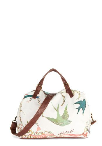 Girl Meets Voyage Weekend Bag by Disaster Designs - Print with Animals, Travel, Best, International Designer, Faux Leather, Multi, Tan / Cream, Mint, Polka Dots, Beach/Resort, Critters, Bird, Woodland Creature