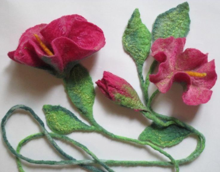 Felt Lariat , Flower Necklace ,Felted Flower Scarf ,  Flower Tie ,Wearable Art Accessory, Art to wear by AgathaBee on Etsy