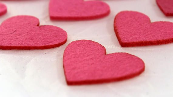 Felt Heart for craft and embellishment 25 pieces perfect shape