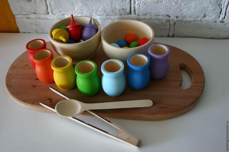Купить Развивающая игрушка Разложи по горшочкам шарики с желудями. - развивающая игрушка, развивающие игрушки