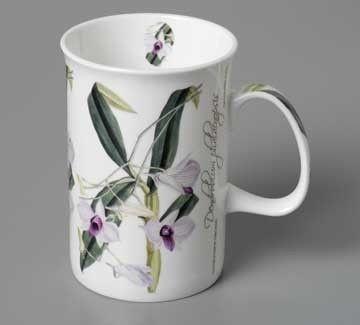 ASHDENE Floral Emblems of Australia Bone China Mug Cooktown Orchid - White Apple Gifts